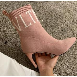 新品♪ロゴ入りソックスタイプショートブーツ≪ピンク23.5cm≫(ブーツ)