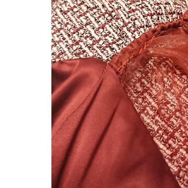 eimy istoire(エイミーイストワール)のエイミーイストワール オーガンジースリーブ ツイードトップス レッド レディースのトップス(カットソー(長袖/七分))の商品写真
