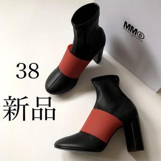 マルタンマルジェラ(Maison Martin Margiela)の新 品/38 MM6 メゾン マルジェラ ブーツ ブラック × レッド(ブーツ)