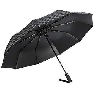 折りたたみ傘 メンズ 頑丈な10本骨 自動開閉 UVカット 遮光 ブラック(日用品/生活雑貨)