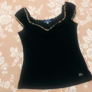 バーバリーブルーレーベル(BURBERRY BLUE LABEL)のバーバリーブルーレーベル 袖なしカットソー 黒(カットソー(半袖/袖なし))