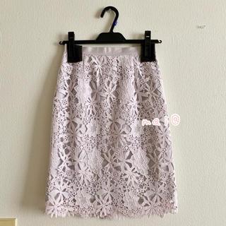 ジャスグリッティー(JUSGLITTY)の美品‼︎ 膝丈 レーススカート タイトスカート パープル 薄紫 ピンク(ひざ丈スカート)