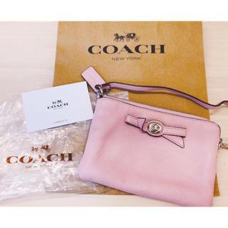 COACH - コーチ 新品未使用♡半額以下✮大人気 レザー ピンク リボン ポーチ COACH