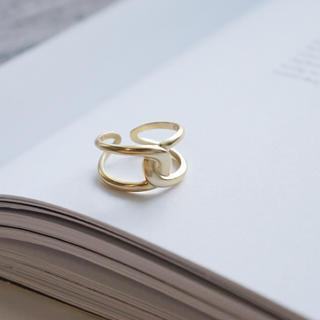 トゥデイフル(TODAYFUL)のM3「シルバー925マットゴールドクロスリング 」指輪 同時購入割引あり☆(リング(指輪))