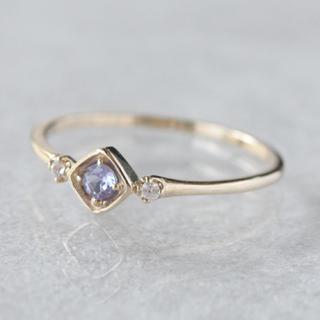 K10 一粒天然石 ひし形 リング タンザナイト ホワイトサファイヤ(リング(指輪))