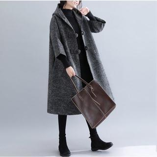 コート 七分袖フレアロングコート カジュアル ひざ丈 大きいサイズ アウター(ポンチョ)