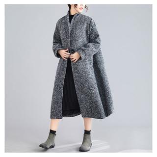 コート ヘリンボンノーカラーロングコート ポンチョ ロング丈 大きいサイズ(ロングコート)