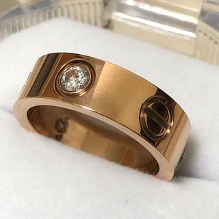 ラブリング 6mm レディースステンレスリング  ローズゴールドリング(リング(指輪))