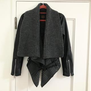 DOUBLE STANDARD CLOTHING - ダブルスタンダード レザージャケット リブニット ドレープ レイヤード S