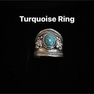ターコイズ リング 指輪 インディアンジュエリー ナバホ メンズ バングル 男 (リング(指輪))