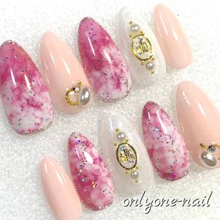 【111】雪の結晶ドーム♡キラキラピンクとチュールピンクの大人可愛い♡冬ネイル