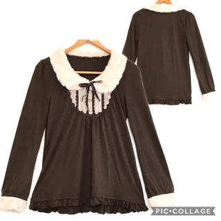 axes femme - 136.ファー襟袖のカットソー