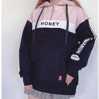 Honey Cinnamon - 今期新作✧̣̥̇Honeycinnamon切替ハーフジップパーカー
