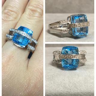 K18WG 8.24カラット 大粒のブルートパーズ  ダイヤモンド リング