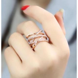 ラインストーン デザイン クロス リング  ローズゴールド(リング(指輪))