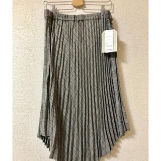 大きいサイズ★アシンメトリーチェック柄プリーツスカート 3L グレー(ロングスカート)