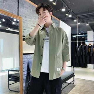 カジュアルシャツ 七分袖 アウターシャツ グリーン A53(シャツ)