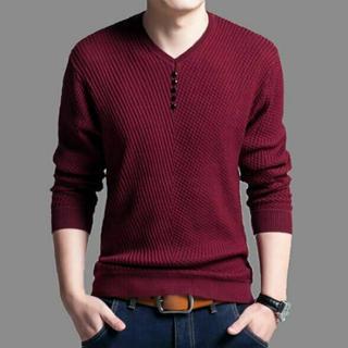 Vネック カットソー きれいめシルエット フェイクボタン 長袖 u90(Tシャツ/カットソー(七分/長袖))