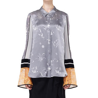 mame - 2019 mame SILK LAME PRINT SLEEVES SHIRT