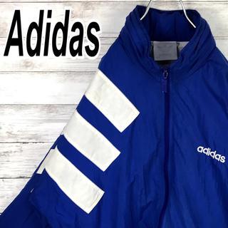 アディダス(adidas)のアディダス ナイロン ブルゾン スリーライン ビッグロゴ オーバーサイズ 90s(ナイロンジャケット)