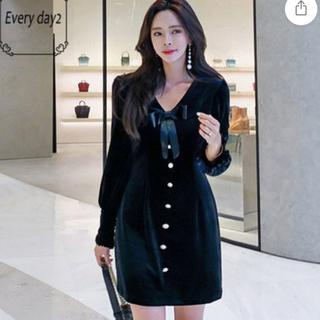 evelyn - ベロアワンピース 韓国ファッション 海外インポート  ドレス