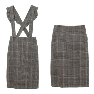 31 Sons de mode - トランテアン サスペンダー付きチェックタイトスカート