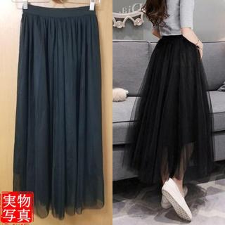 3層チュールチュチュ スカート ロング丈 ボリューム チュールスカート 黒(ロングスカート)