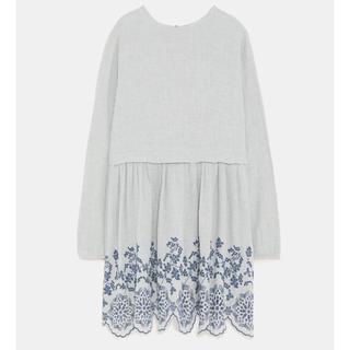 ザラ(ZARA)の新品未使用 ZARA 刺繍 ワンピ グレー(ミニワンピース)