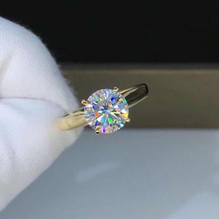 【newカラー】輝くモアサナイト ダイヤモンド リング k18(リング(指輪))