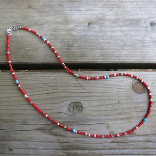 ネイティブ赤 ビーズネックレス 55cm ロンハーマン好きに(ネックレス)