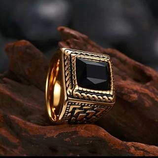 新品 リング ゴールド×ブラッククリスタル 20号(リング(指輪))