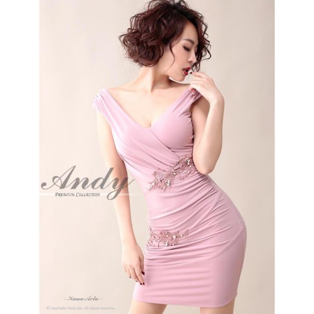 Andy(アンディ)のandy ピンク ベージュ ドレス レディースのフォーマル/ドレス(ナイトドレス)の商品写真