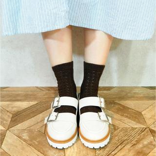 アシナガオジサン(あしながおじさん)のbyあしながおじさん 厚底 ローファー ホワイト S(ローファー/革靴)