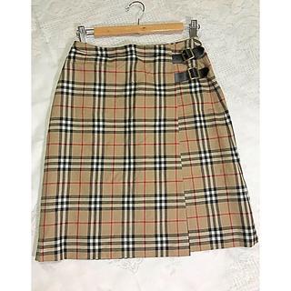 極美品Burberry'S  BLUELABEL大人気 上質毛100%巻スカート(ひざ丈スカート)