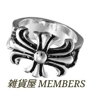 送料無料17号クロムシルバービッグメタルクロス十字架スタンプリング指輪残りわずか(リング(指輪))