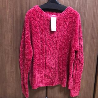 アーヴェヴェ(a.v.v)のニットリブ セーター 濃いピンク Mサイズ(ニット/セーター)