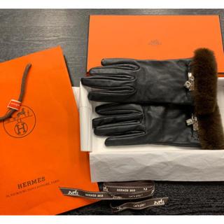 エルメス(Hermes)の希少/試着¥17.1万品 エルメス★ 手袋 グローブ ラムスキン×ミンク 箱(手袋)