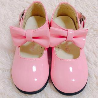シャーリーテンプル(Shirley Temple)の新品シャーリーテンプル ピンクリボン靴 15㎝フォーマルシューズ メゾピアノ (フォーマルシューズ)
