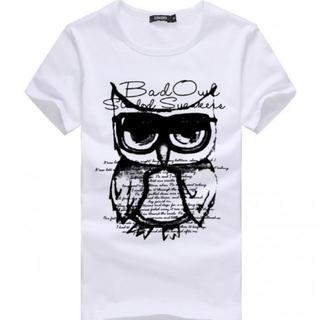 半袖 Tシャツ  フクロウ メンズ レディース  M 白(Tシャツ/カットソー(半袖/袖なし))