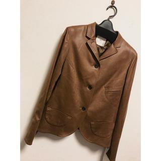 イネド(INED)のブラウンコート ジャケット 皮  11号 l 長袖 レトロ 秋冬 高級(ライダースジャケット)