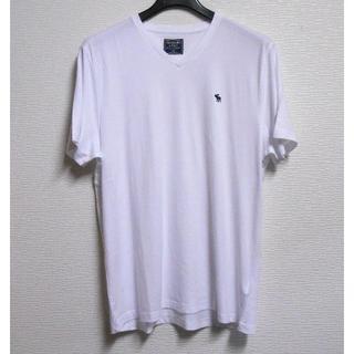 アバクロンビーアンドフィッチ(Abercrombie&Fitch)のアバクロ*US:XXL/ホワイト/アイコンVネック半袖Tシャツ(Tシャツ/カットソー(半袖/袖なし))