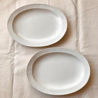 よしざわ窯 ホワイト オーバルリムプレート 2枚 益子焼 作家