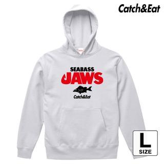 Catch&Eat【SEABASS JAWS パーカー】【ホワイト L】(ウエア)
