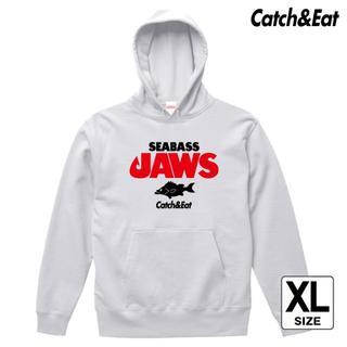 Catch&Eat【SEABASS JAWS パーカー】【ホワイト XL】(ウエア)