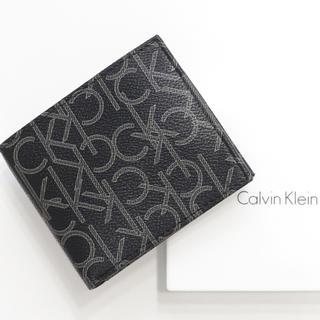 カルバンクライン(Calvin Klein)の新品 カルバンクライン 二つ折り 財布 ロゴモノグラム 札入れ コインケース 黒(折り財布)