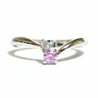 17号 Vライン キュービックジルコニア ピンク シルバーリング(リング(指輪))