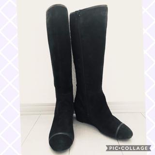マリーファム(Marie femme)の黒スエード ロングブーツ 23cm(ブーツ)