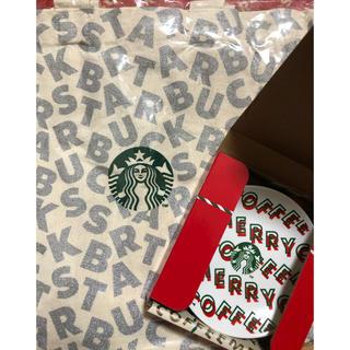 スターバックスコーヒー(Starbucks Coffee)のスタバ ミニトートバッグ シルバー&丸小皿 白 (トートバッグ)