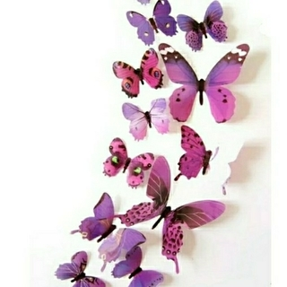 3D バタフライ 蝶 ウォール ステッカー パープル 12枚入り 立体 壁