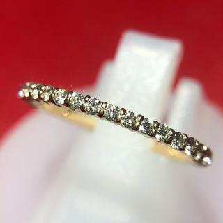 細美 重ね付け ダイヤ リング 指輪 ハーフエタニティ k18yg イエロー(リング(指輪))
